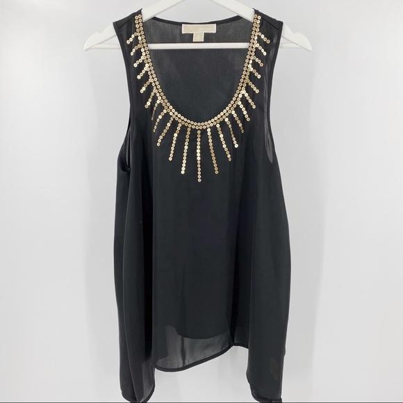 Michae Kors black tank top with sequin neckline
